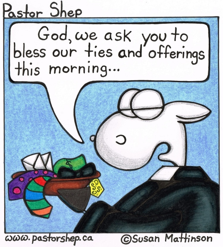 stewardship ties and offering tithes pastor shep christian cartoon