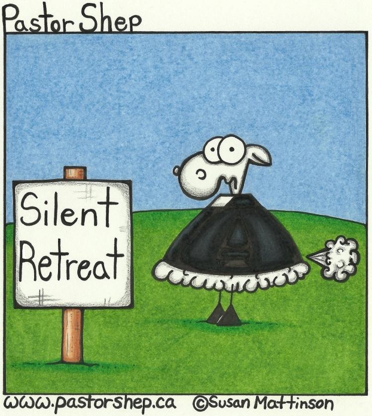 silent retreat fart prayer spiritual pastor shep christian cartoon