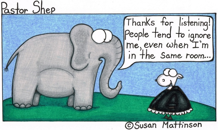 listening to elephant in the room pastor shep christian cartoon