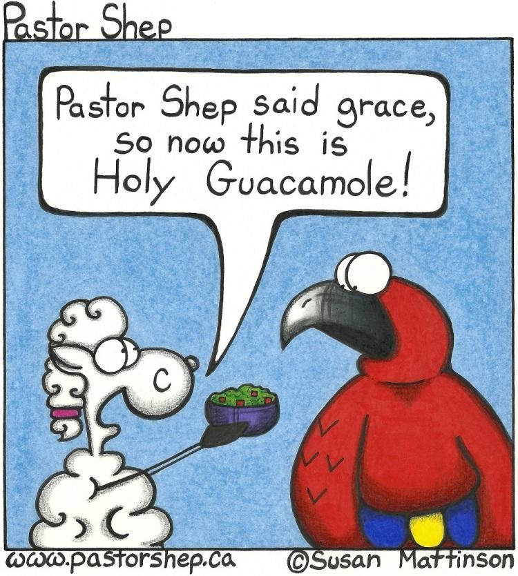 holy guacamole grace potluck pastor shep christian cartoon