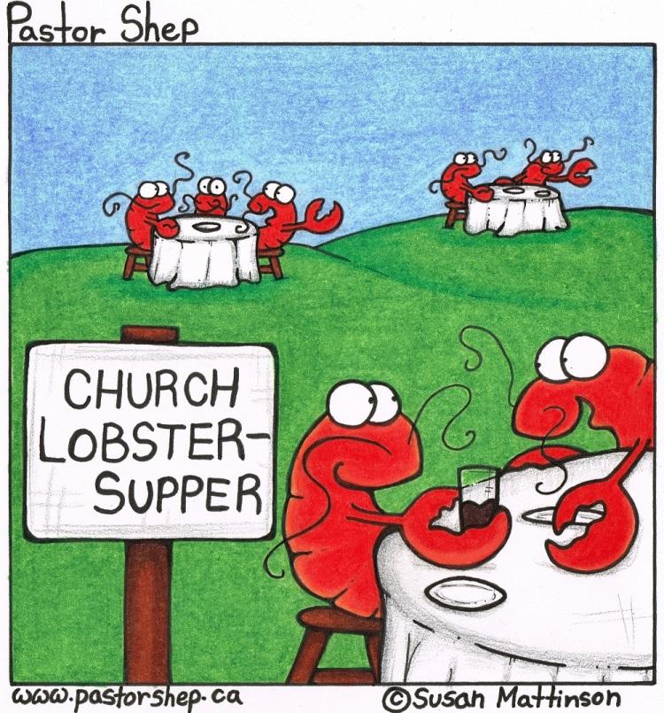 church lobster supper fundraiser pastor shep christian cartoon