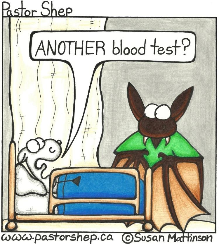 hospital blood test vampire bat pastor shep christian cartoon