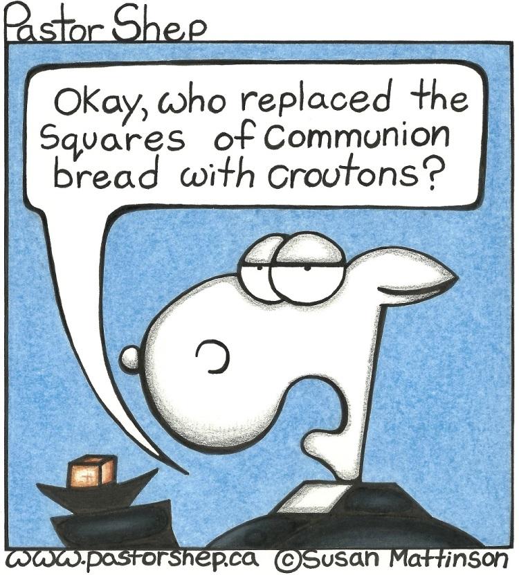 communion bread croutons prank pastor shep christian cartoon