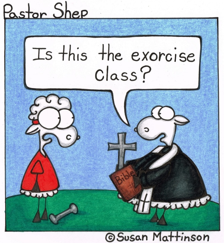 exorcise exercise class exorcism priest pastor shep christian cartoon