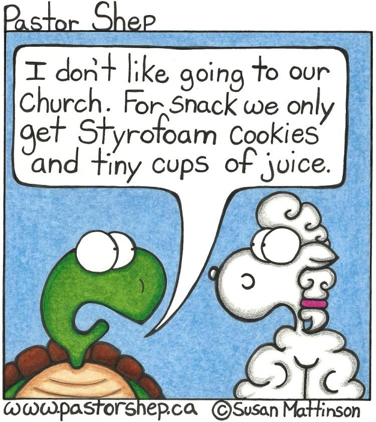 church snack communion wafers juice pastor shep christian cartoon